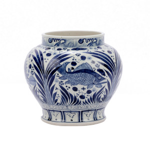 Blue & White Open Top Fish Jar