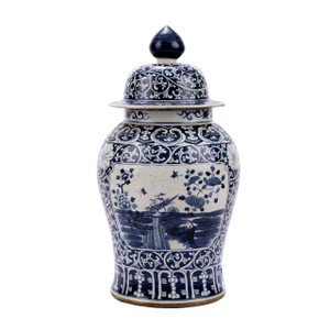 Blue & White Porcelain Dynasty Temple Jar Floral Landscape Medallion