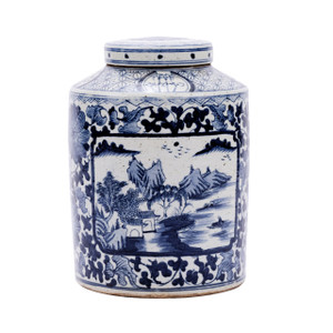 Blue & White Porcelain Dynasty Tea Jar Floral Landscape Medallion