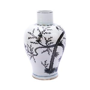 Indigo Porcelain Kwanyin Vase Magpie On Treetop