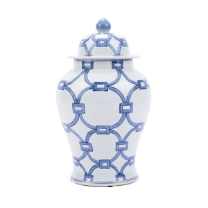 Blue And White Porcelain Lover Locks Temple Jar - 2 Sizes