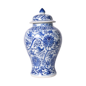 Blue And White Porcelain Peacock Lotus Temple Jar