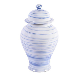 Blue & White Marbleized Porcelain Temple Jar - 2 Sizes