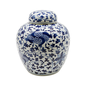 Blue & White Porcelain Pomegranate Lidded Jar