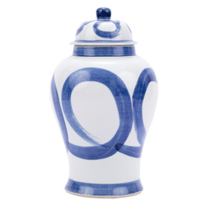 Blue And White Porcelain Brushstroke Swirl Circle Temple Jar - 2 Sizes