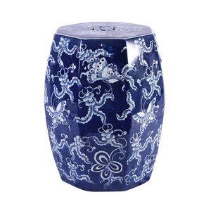 Blue And White Porcelain Octagonal Butterfly Garden Stool