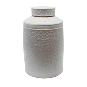 White Cylinder Tea Jar With Curly Vine Carving