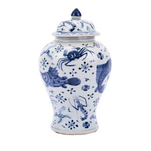 Blue & White Porcelain Fish Shrimp & Crab Ginger Jar