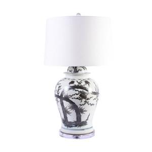 Indigo Porcelain Magpie On Treetop Temple Jar Lamp