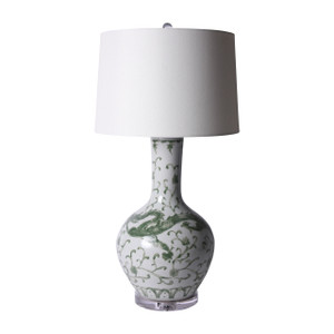 Celadon Dragon Globular Vase Table Lamp