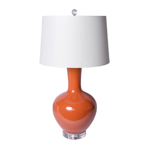 Orange Crackle Globular Vase Table Lamp