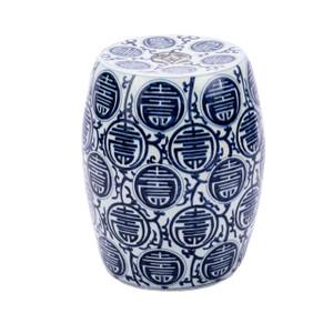 Blue & White Longevity Porcelain Garden Stool