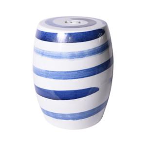 Blue & White Spin Brushstroke Porcelain Garden Stool