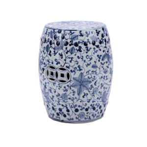 Blue & White Porcelain Garden Stool Climbing Vines