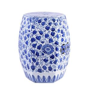 Blue & White Hex Porcelain Garden Stool Grape Vines