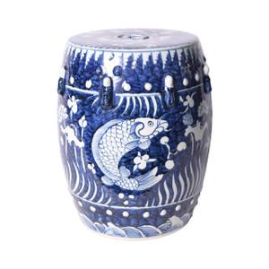 Blue Fish Lotus Porcelain Garden Stool