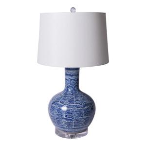 Blue & White Blossom Globular Porcelain Vase Lamp