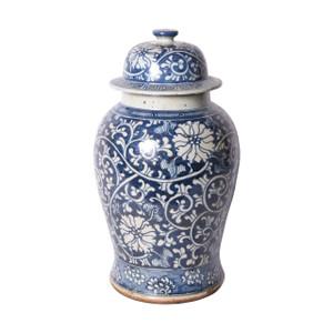 Blue & White Dynasty Curly Vine & Flower Temple Porcelain Jar