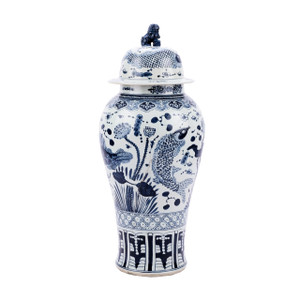Blue & White Fish Temple Porcelain Jar Lion Lid - XL