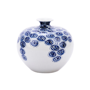 Blue & White Driftting Cloud Pomeranate Porcelain Vase