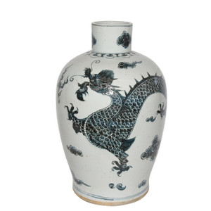 Indigo Baluster Dynasty Porcelain Vase Dragon