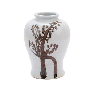 Rusty Brown Twisted Tree Flaring Rim Dynasty Porcelain Jar