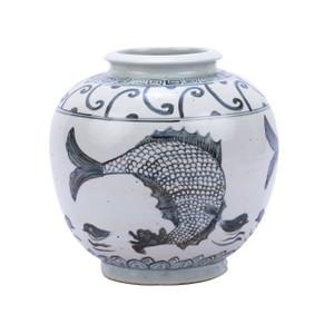 Indigo Yuan Fish Open Top Porcelain Jar