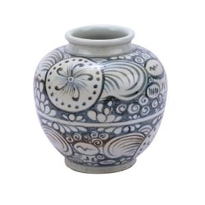 Indigo Yuan Sunflower Open Top Porcelain Jar