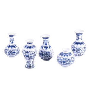 Blue And White Porcelain Curly Vine Bud Vases - Set of 5
