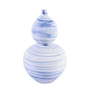 Blue And White Marblized Gourd Porcelain Vase