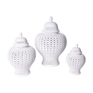 White Lattice Ginger Porcelain Jar With Lid - Set of 3