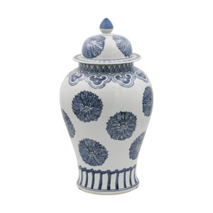 Blue & White Multi Flowers Temple Porcelain Jar