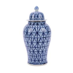 Blue & White Chess Grids Temple Porcelain Jar