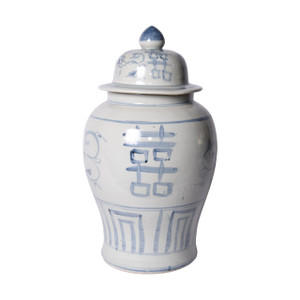 Blue & White Silla Temple Jar Seagrass Double Happiness Motif