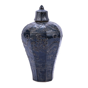 Carved Dragon Plum Porcelain Vase Rust Charcoal