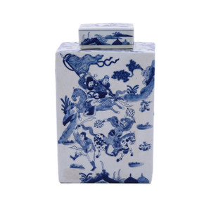Blue & White Warrior Square Porcelain Tea Jar