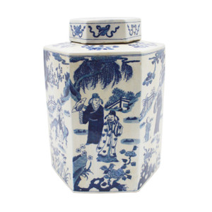 Blue & White Hex Porcelain Tea Jar Ancient People