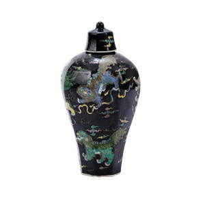 Black Hex Lidded Prunus Porcelain Vase Lion Motif