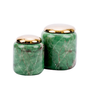 Jade Green Lidded Porcelain Jar - 2 Sizes
