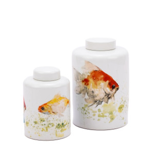 Colored Fish Round Tea Porcelain Jar - 2 Sizes