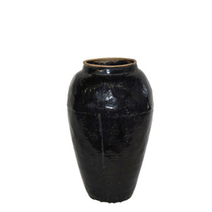 Vintage Black Porcelain Wine Jar Large - Circa 1900