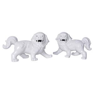 Porcelain Walking Foo Dog Pair White - L