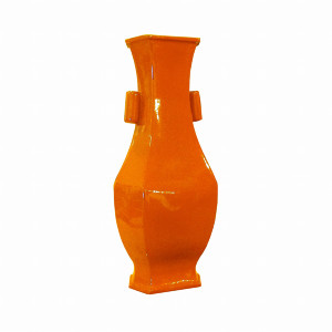 Wide Lipped Hexagonal Porcelain Vase - Orange Crackle