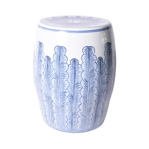 Blue And White Porcelain Banana Leave Garden Stool
