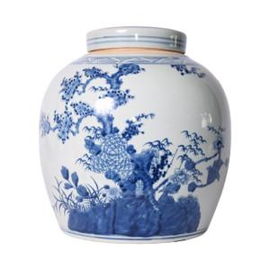 Blue And White Porcelain Four Season Plants Melon Jar