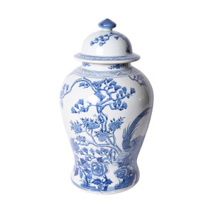 Blue & White Porcelain Magnolia Pheasant Porcelain Temple Jar