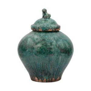 Vintage Emerald Green Porcelain Jar Lion Lid
