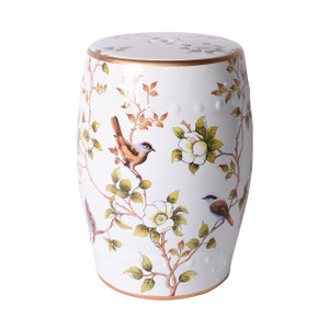 Cream White Garden Stool With Flower and Birds