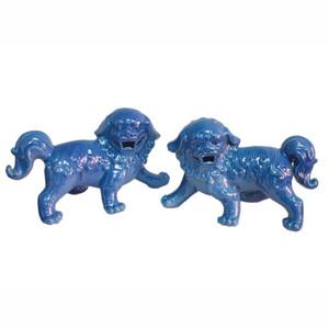 Walking Foo Dog Pair Turquoise - L