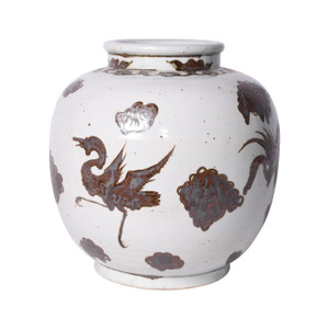 Rusty Brown Open Top Jar Bird Motif